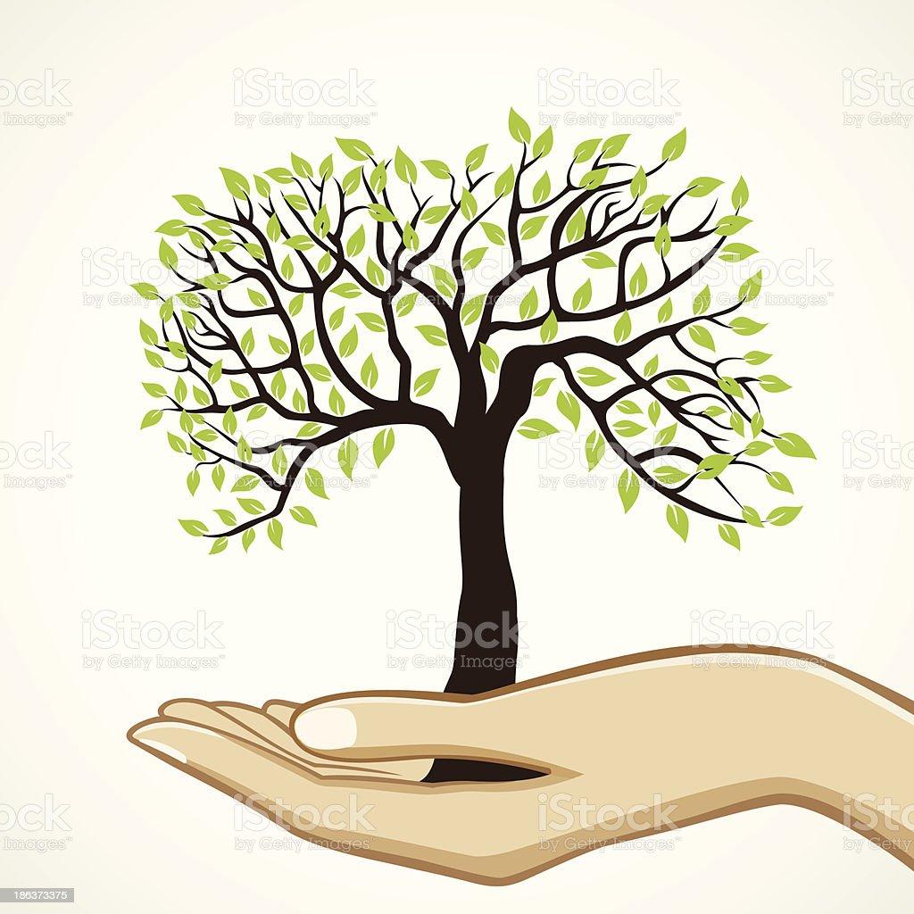 save tree concept vector art illustration