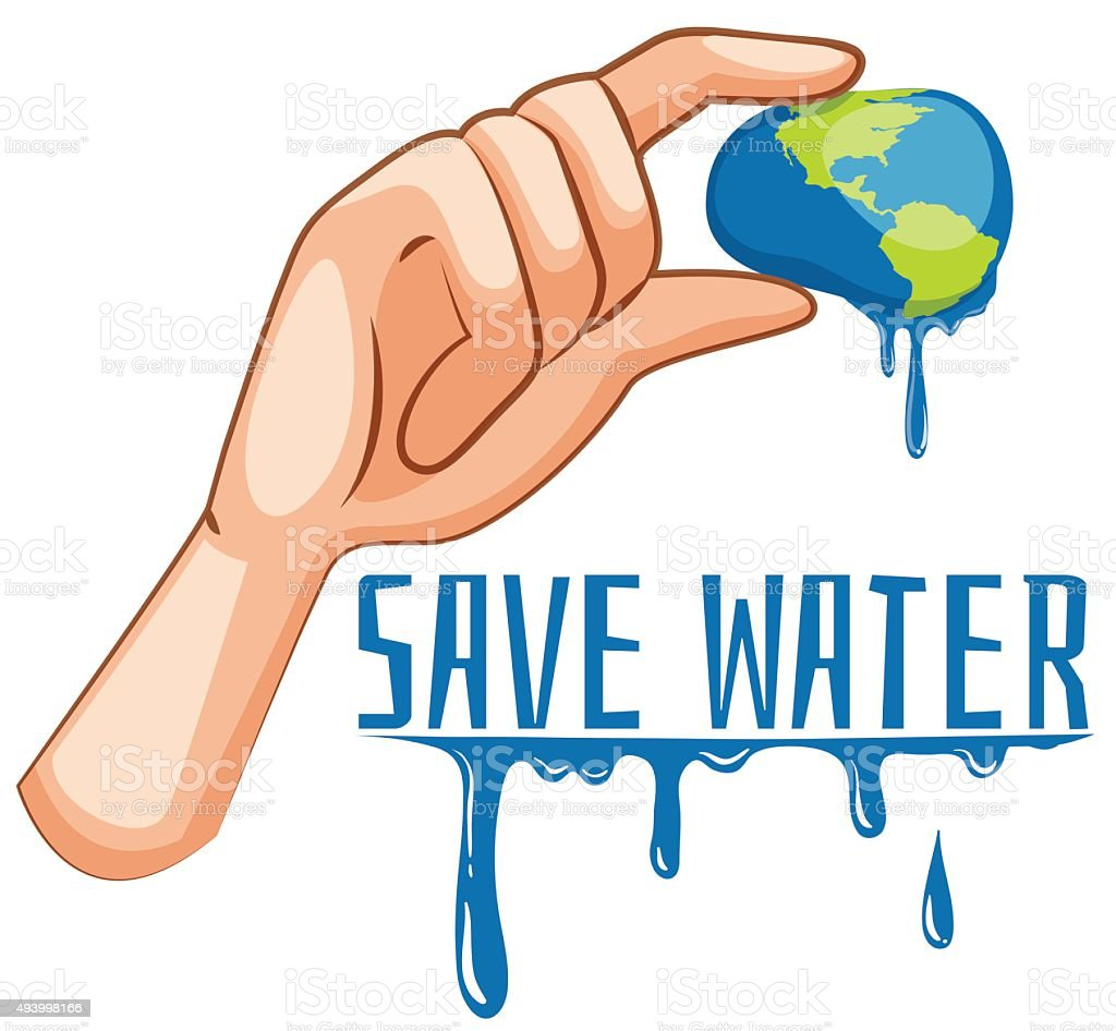 Save water sign  earth being squeezed vector art illustration