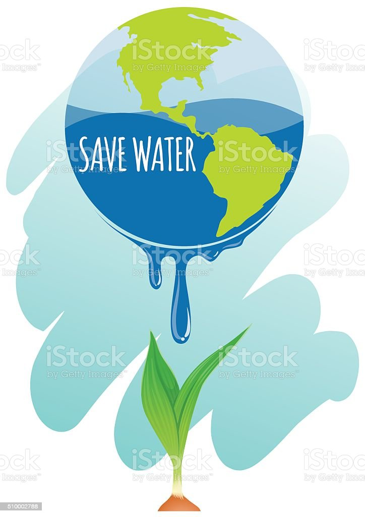 Save water theme  earth plant vector art illustration
