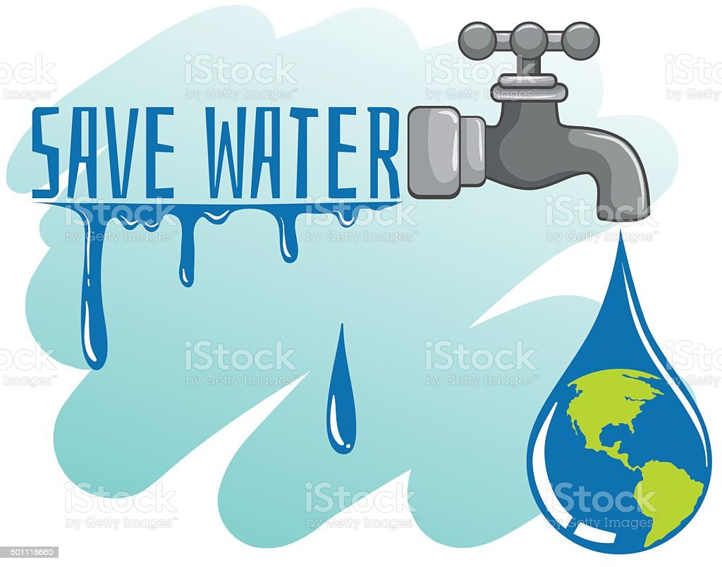 Save water theme with earth and faucet vector art illustration
