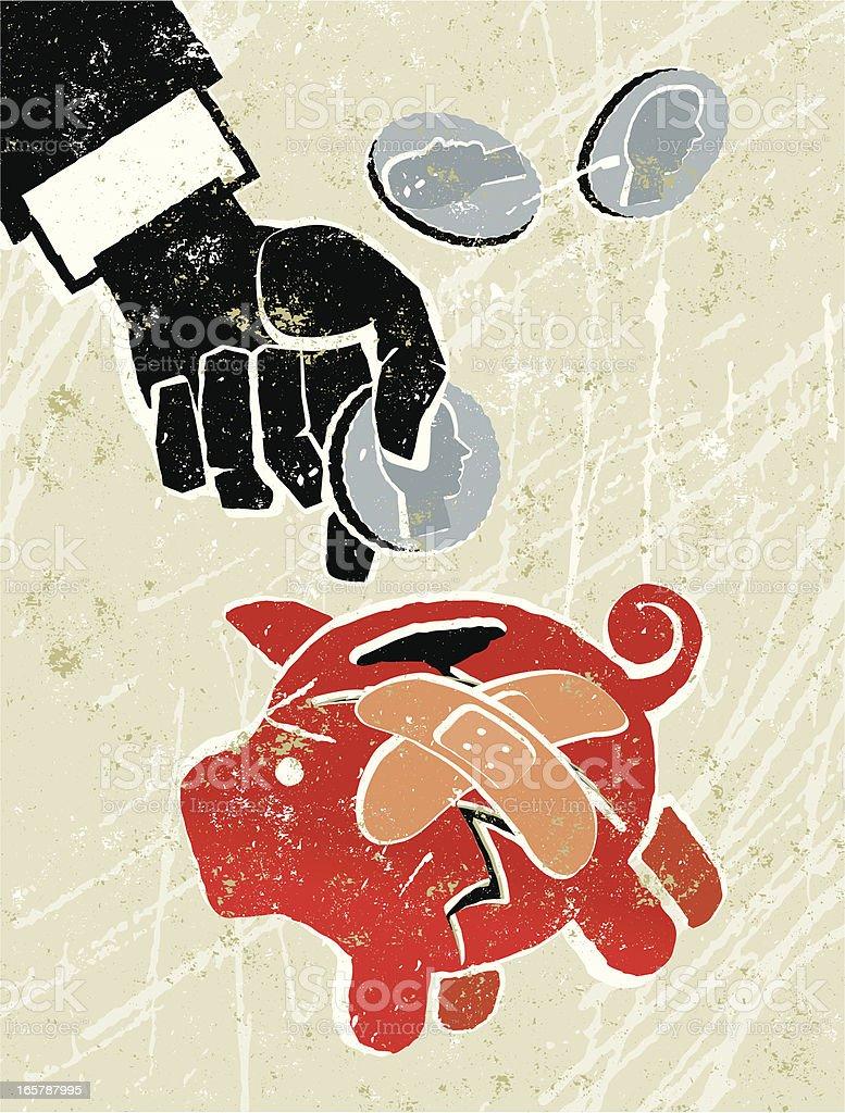 Saving by Putting Money in a Broken Piggy bank. royalty-free stock vector art
