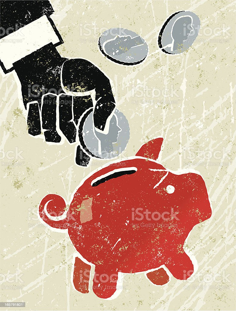 Saving by Putting Money in a Piggy Bank royalty-free stock vector art