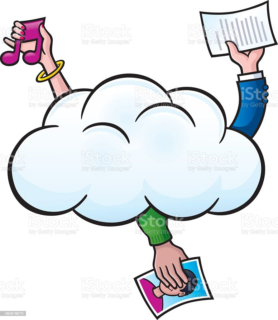 Saving Files In The Cloud vector art illustration