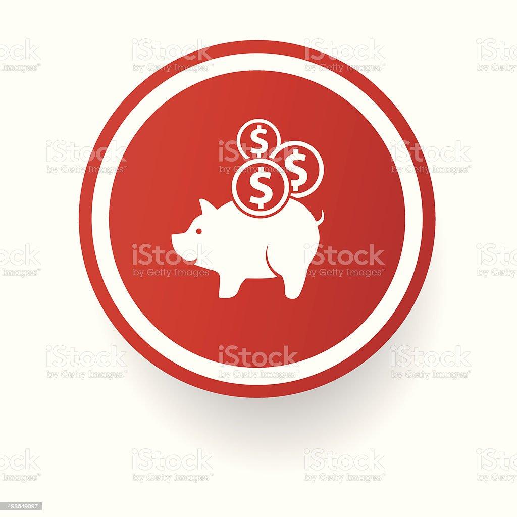 Saving money button vector art illustration