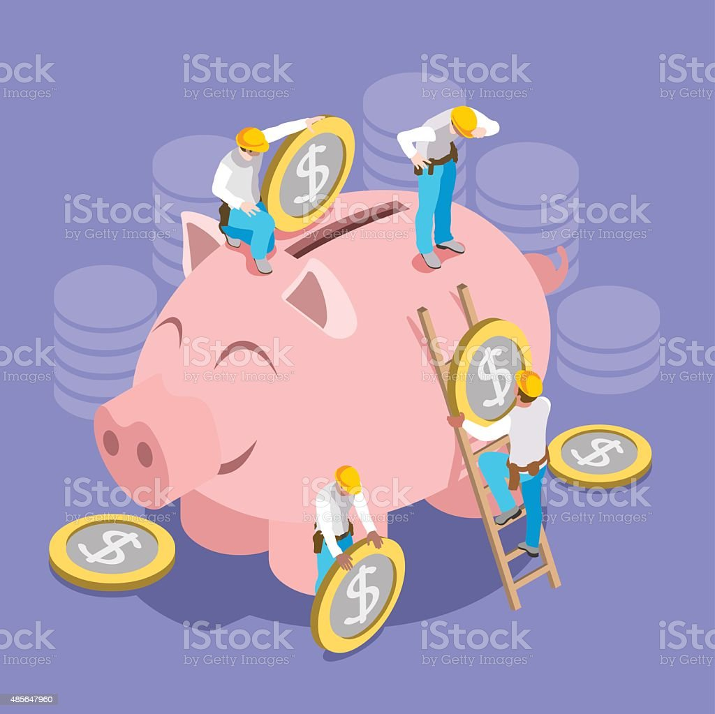 Saving Money Concept Isomeric vector art illustration