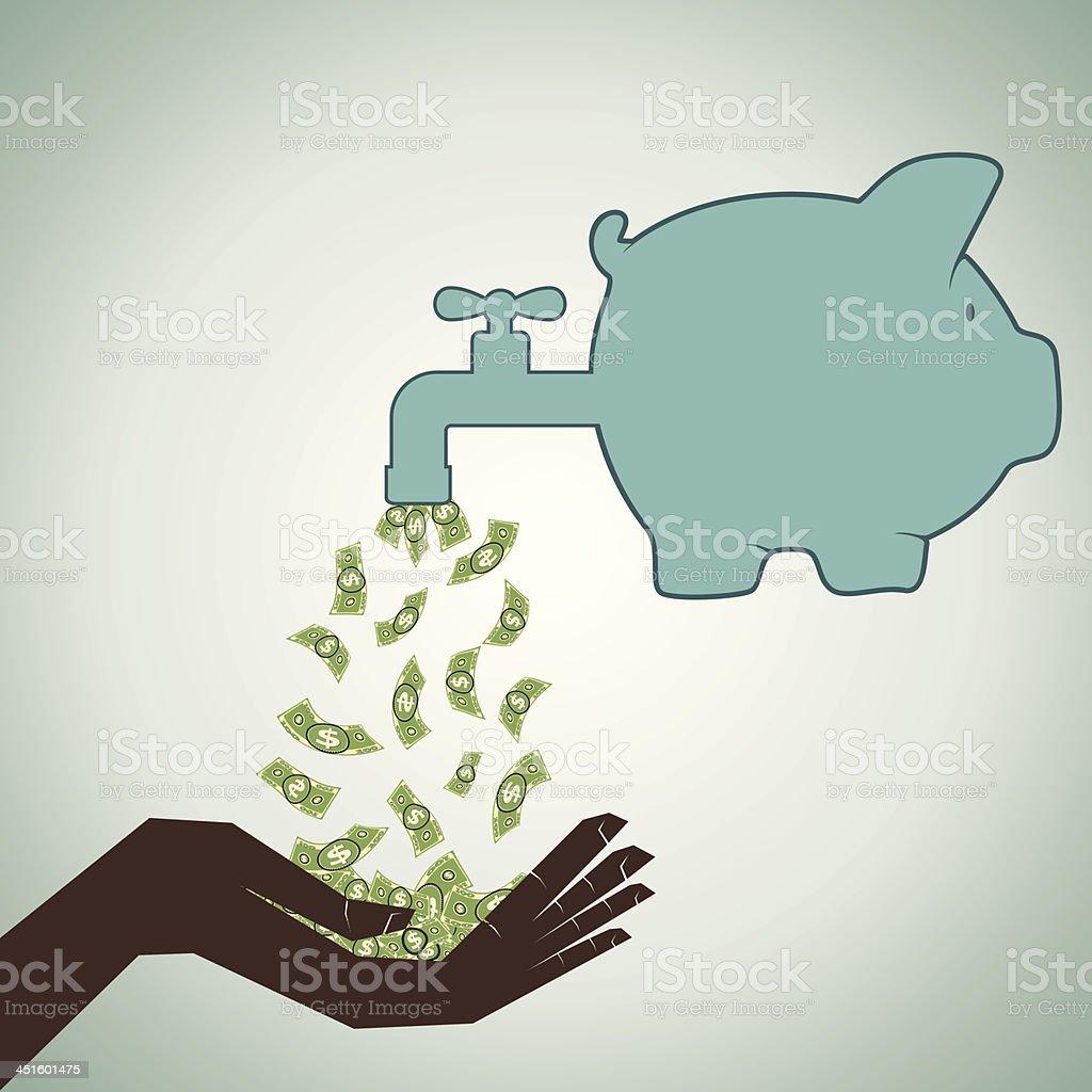 saving money concept vector art illustration