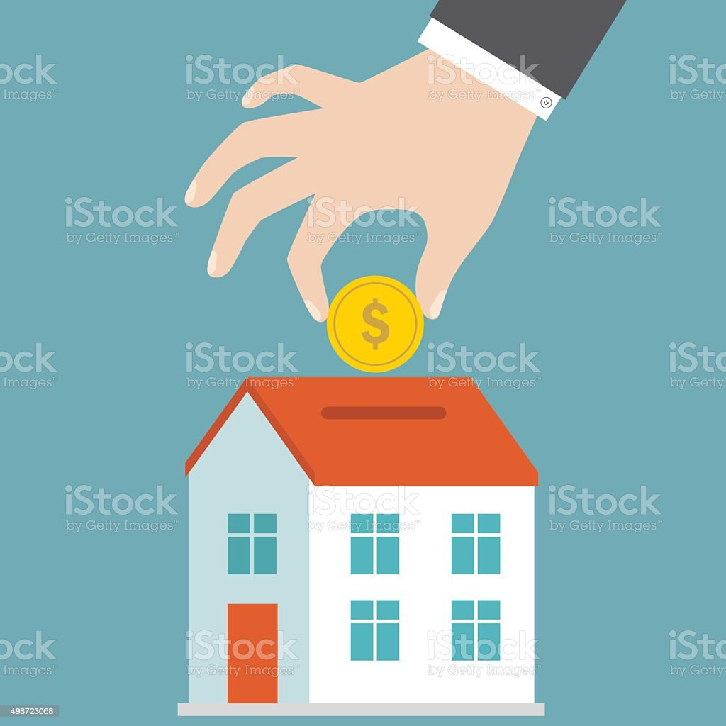 Saving money for a house vector art illustration