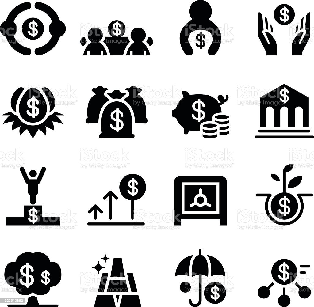 Saving money & Investment icons vector art illustration