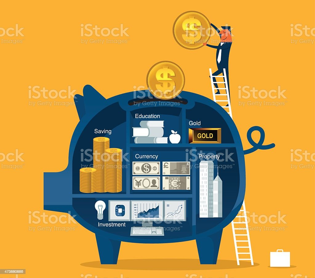 Saving Money vector art illustration