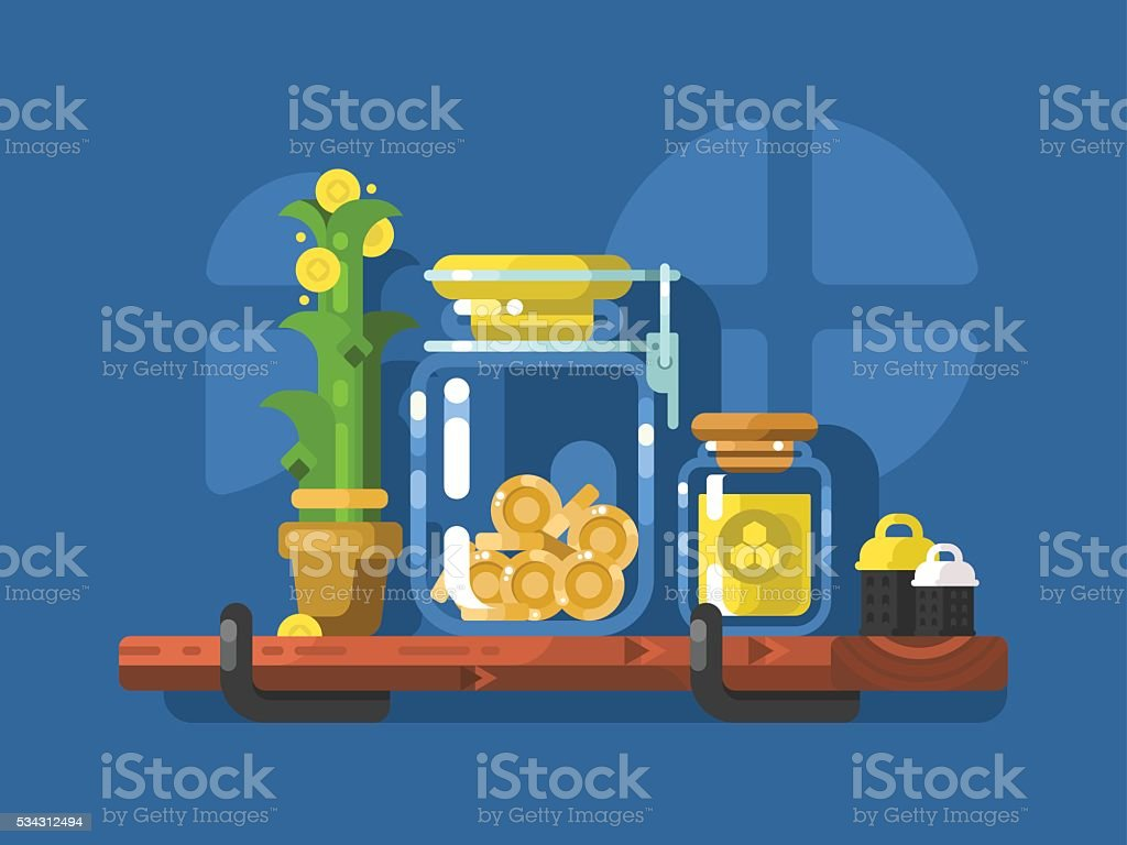 Savings and glass jar with coins vector art illustration