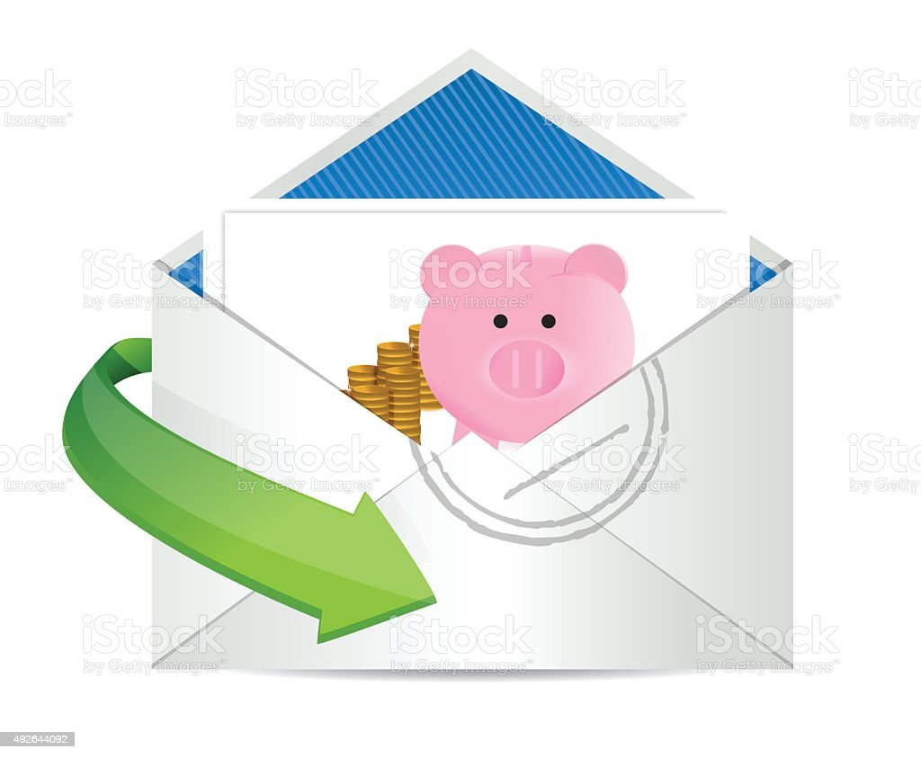 Savings review mail vector art illustration