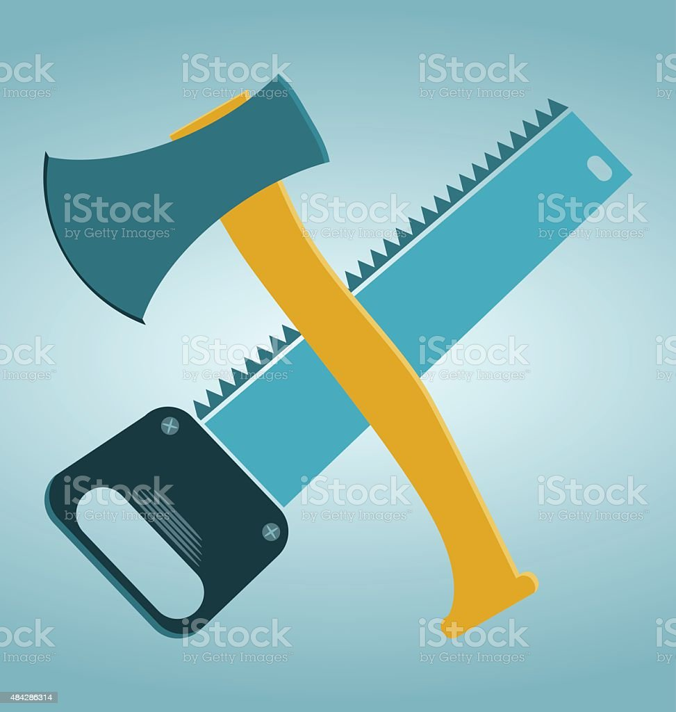 saw and ax, carpentry tools vector art illustration