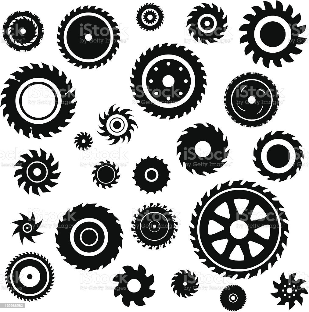 Saw blade set vector art illustration