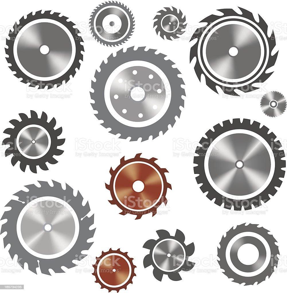 Saw blades vector art illustration