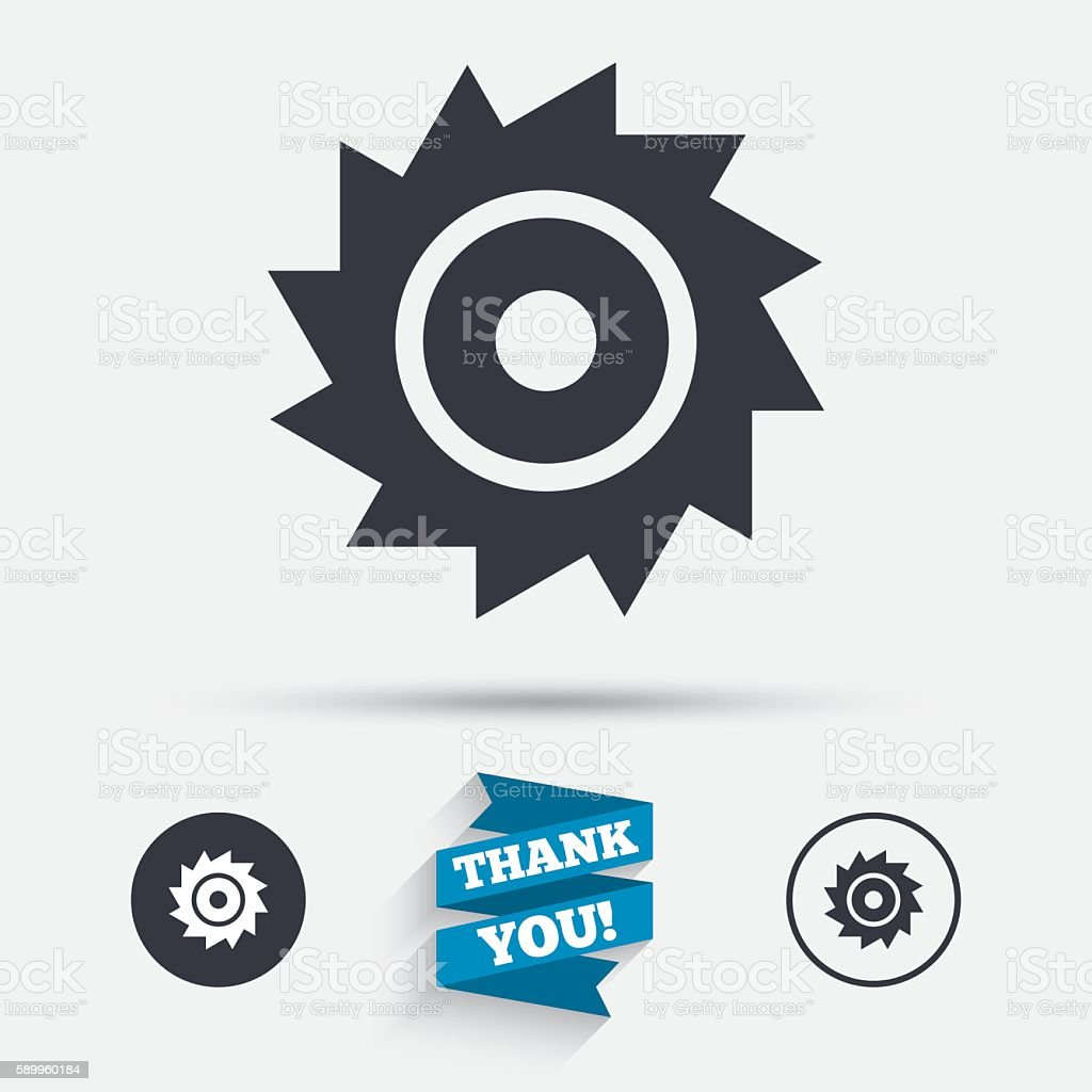 Saw circular wheel sign icon. Cutting blade. vector art illustration