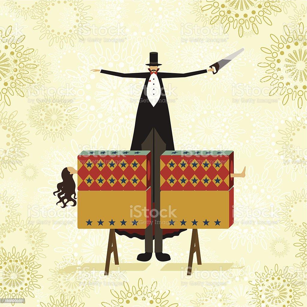 Sawing in half magic trick royalty-free stock vector art