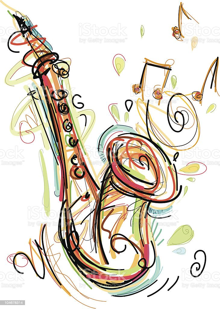 sax art royalty-free stock vector art