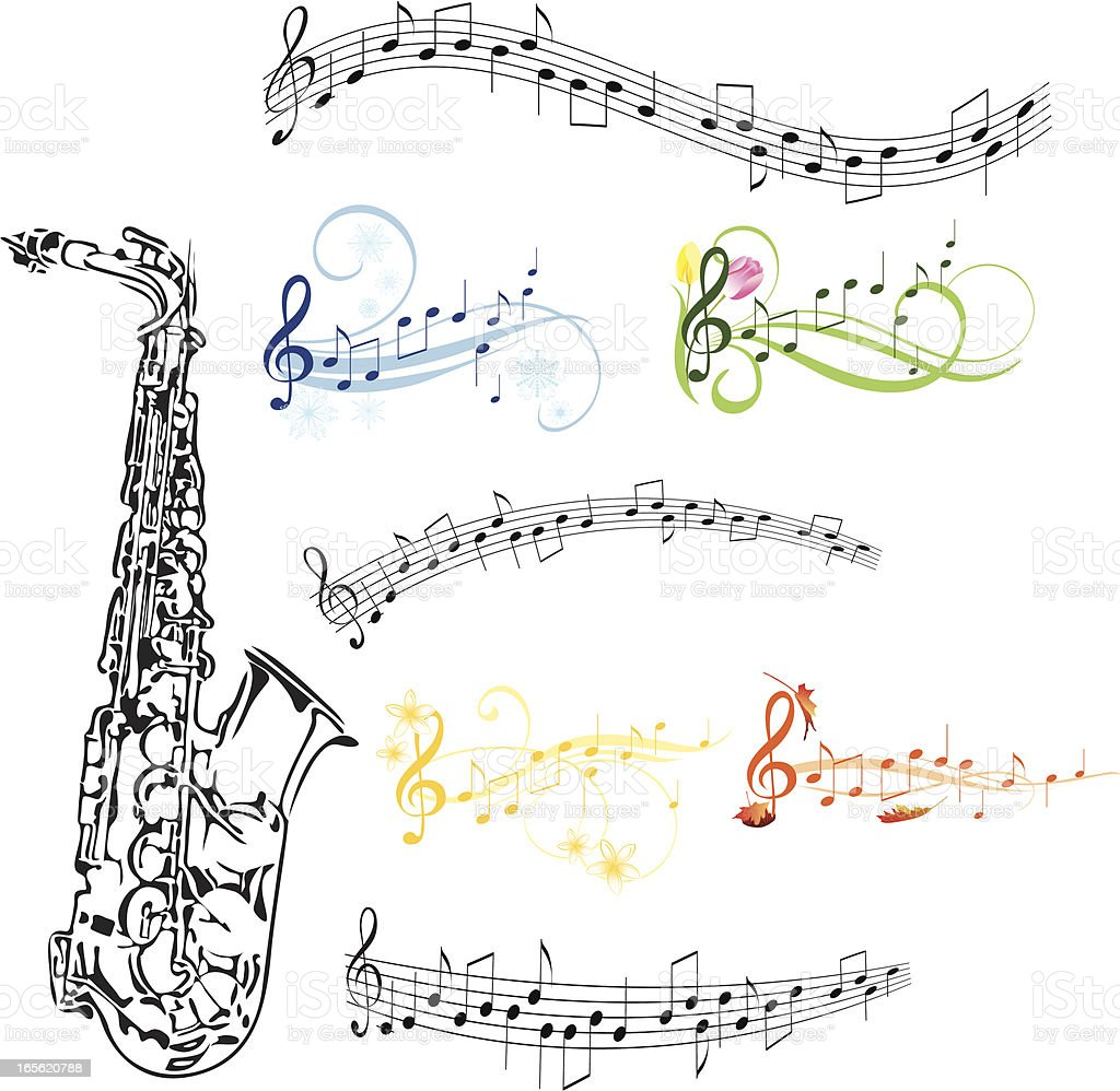 Saxophone and music note royalty-free stock vector art