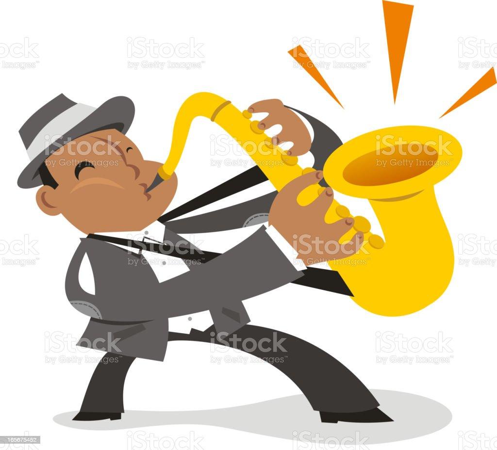 Saxophone colossus vector art illustration