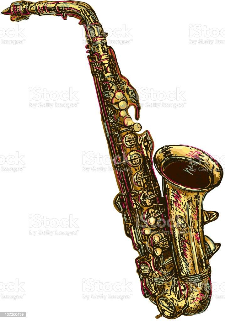 Saxophone isolated on white background vector art illustration