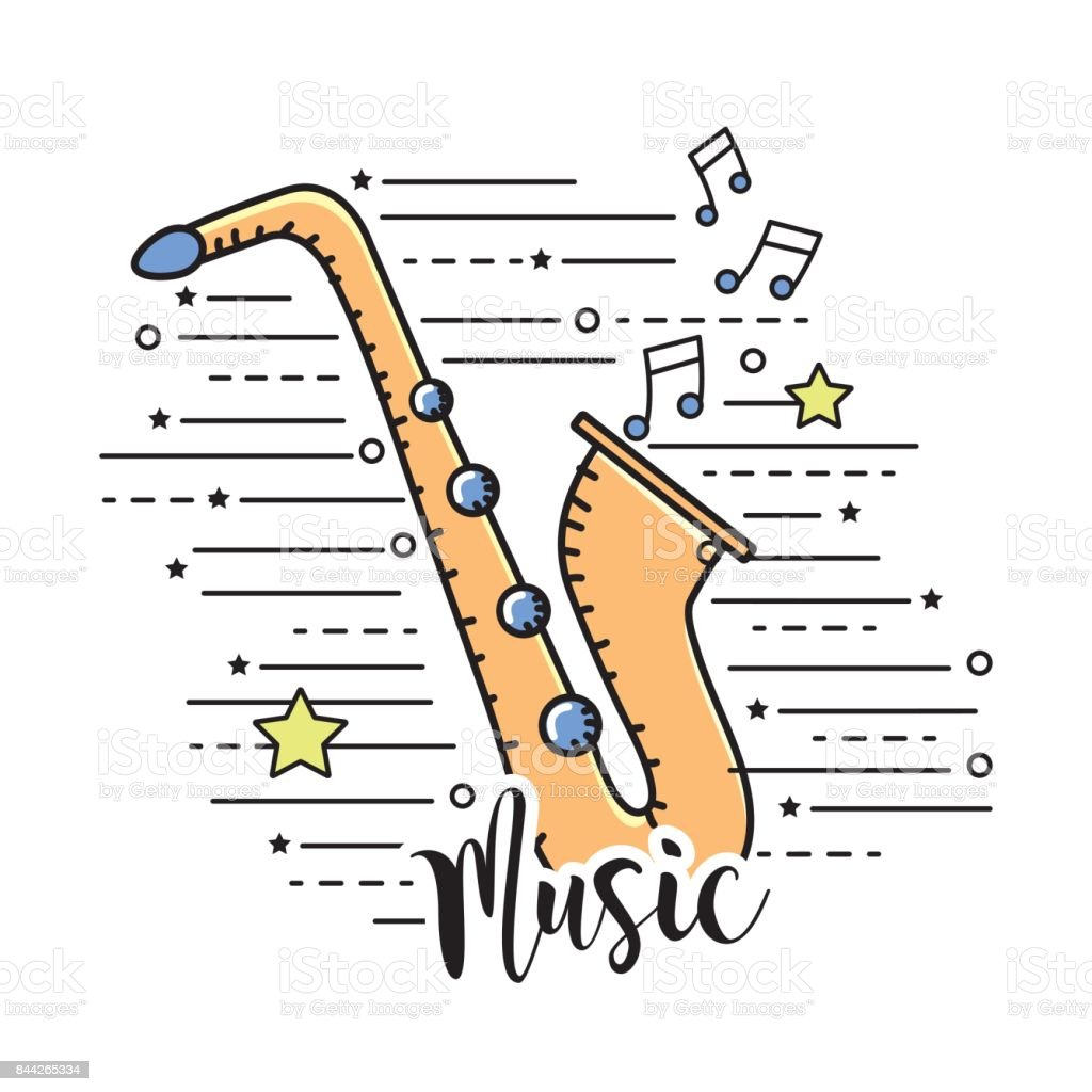 saxophone musical instrument to play music vector art illustration
