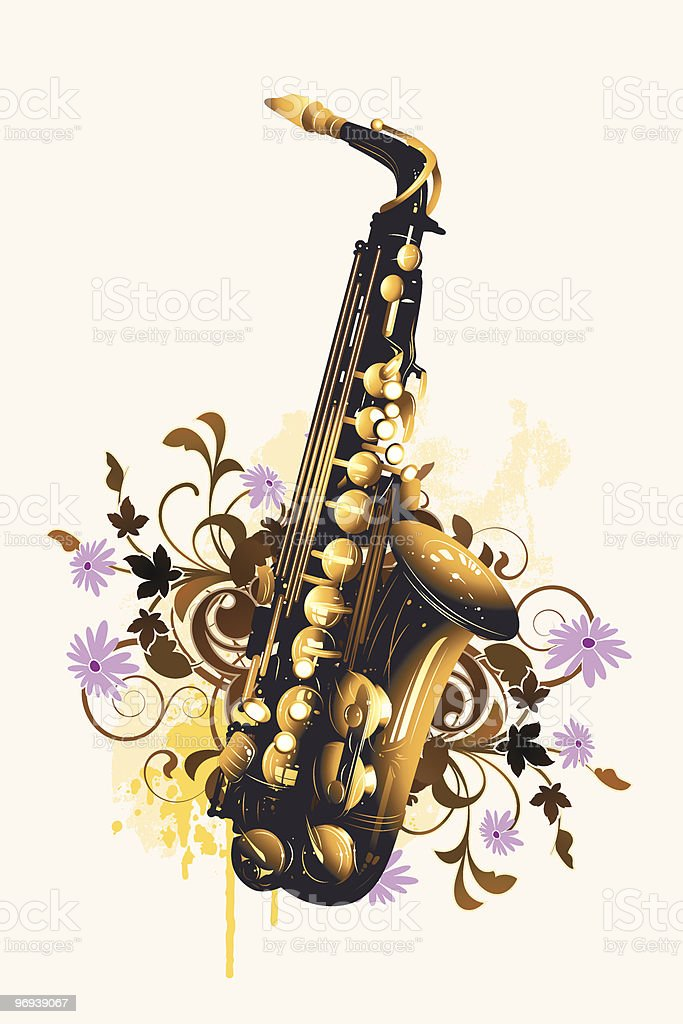 Saxophone on a floral background royalty-free stock vector art