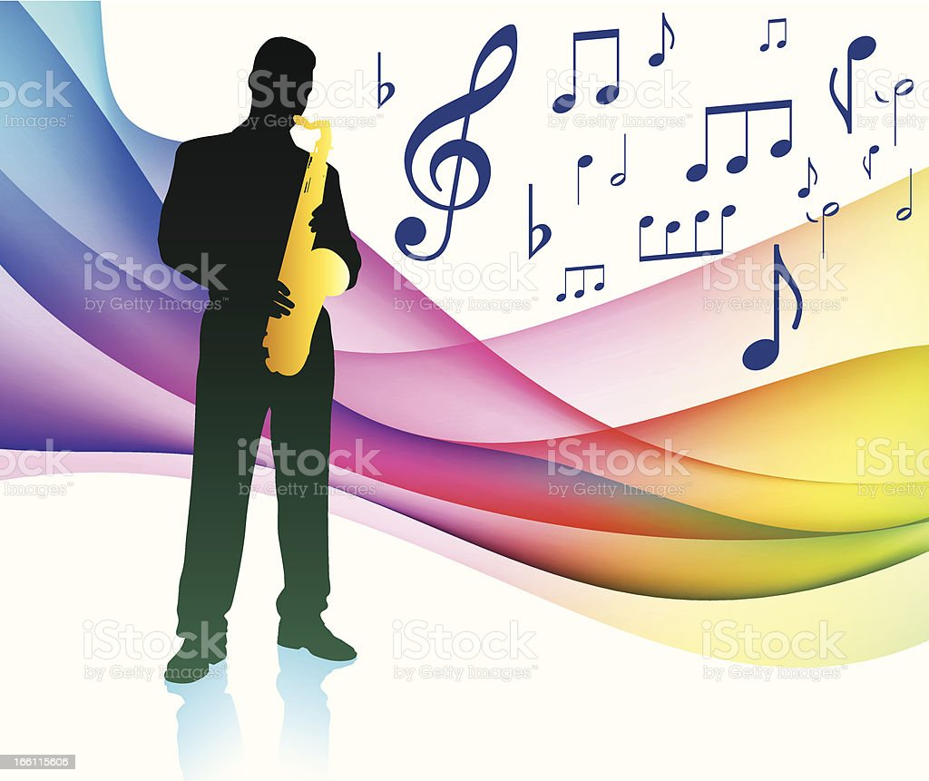 Saxophone on rainbow Flowing background royalty-free stock vector art