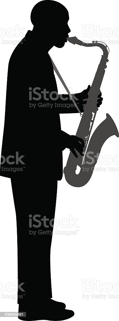 Saxophone Player Silhouette vector art illustration