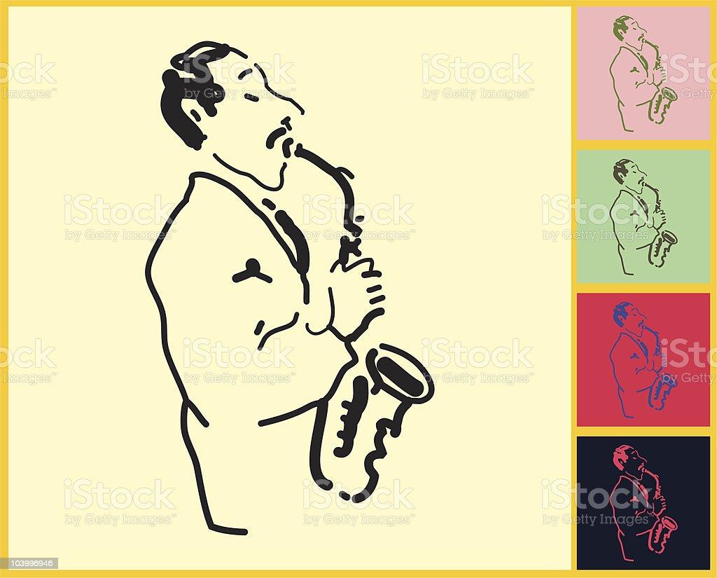 saxophone player royalty-free stock vector art