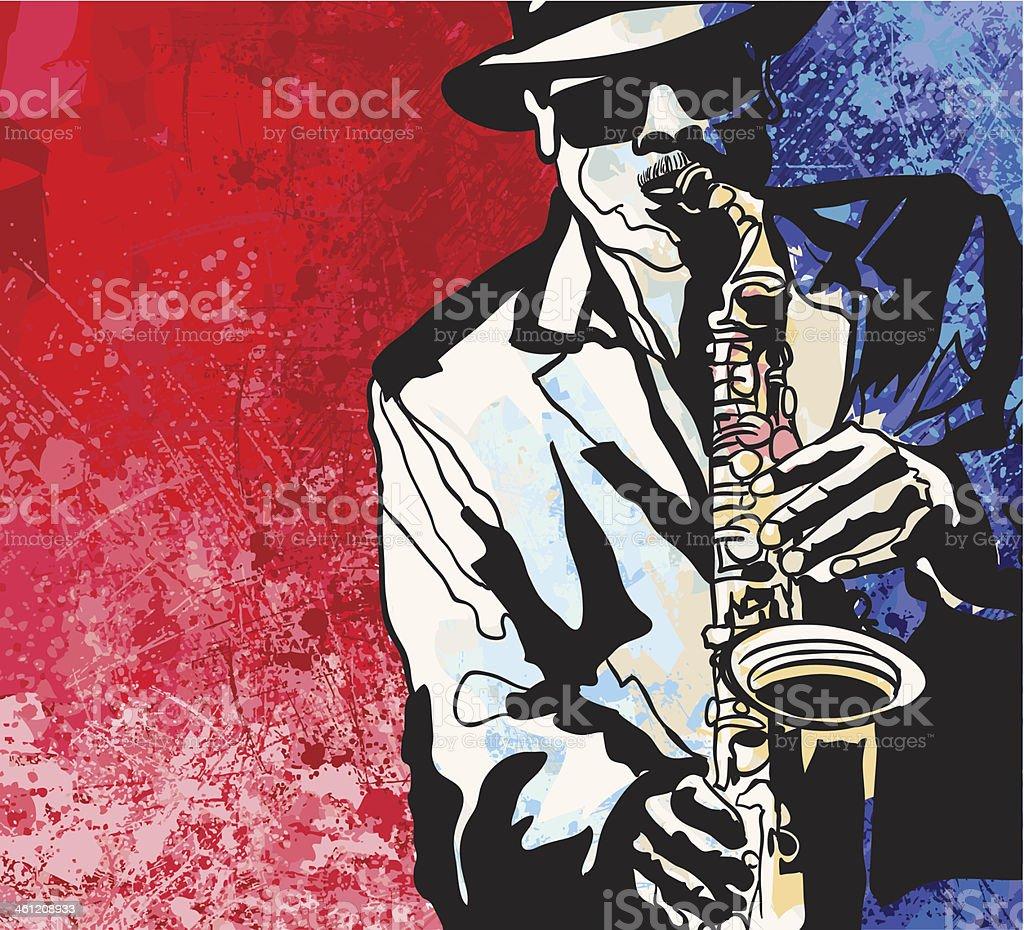 Saxophone player vector art illustration