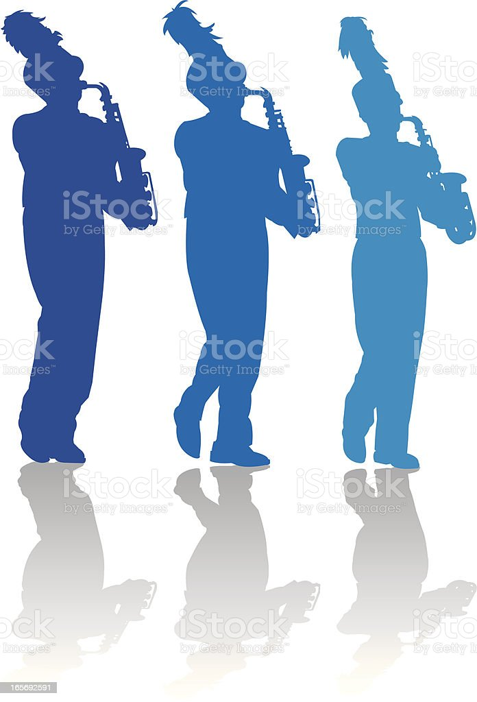 Saxophone Players - Marching Band royalty-free stock vector art