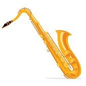 Saxophone. Vintage label, illustration, logotype. Vector illustration