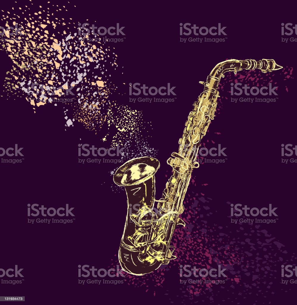 Saxophone with artistic background stock photo