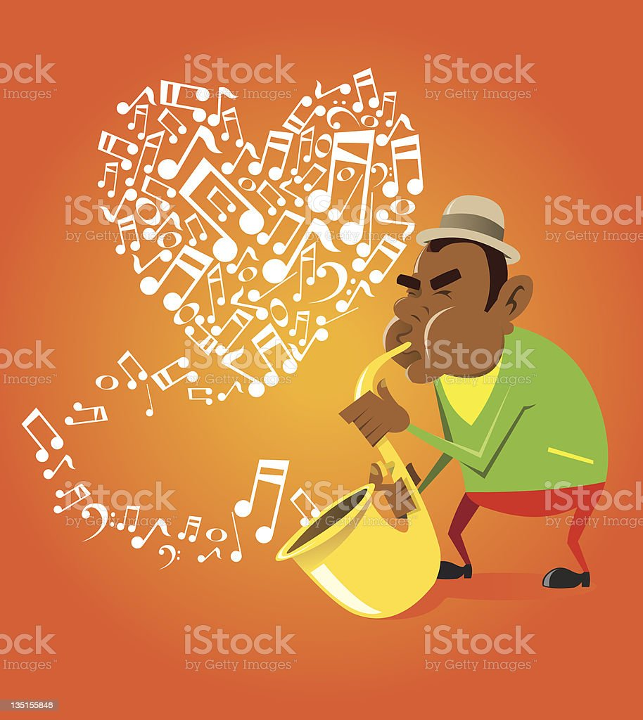 Saxophonist playing notes in the form of heart royalty-free stock vector art