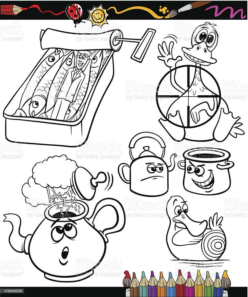 sayings set for coloring book vector art illustration