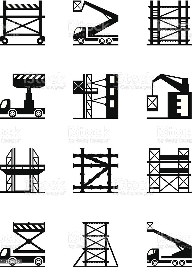 Scaffolding and construction cranes icon set vector art illustration