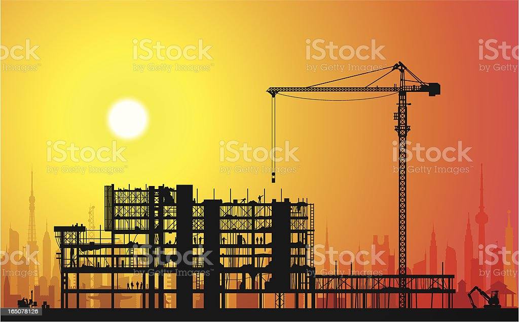 Scaffolding and Sunset royalty-free stock vector art