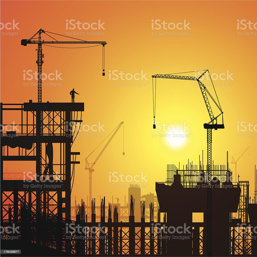 Scaffolding (Cranes, People, Fork Lift on Separate Layers) royalty-free stock vector art