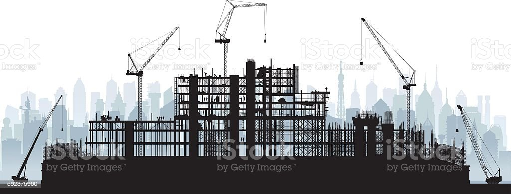 Scaffolding (Cranes and Buildings are Moveable and Complete) vector art illustration