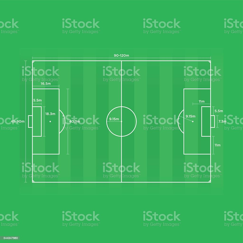 Scale Diagram Football / Soccer Field with Dimensions (m) (yds) vector art illustration