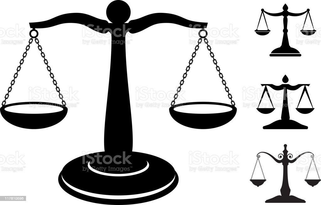 scale of justice black and white royalty-free vector icon set vector art illustration