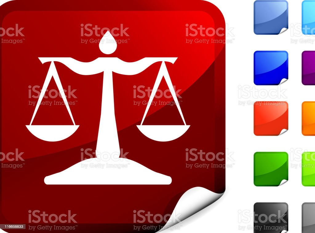 scale of justice  icon on sticker royalty-free stock vector art