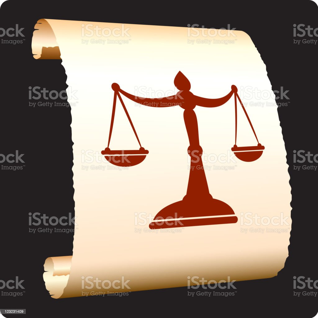 scale of justice on paper scroll royalty-free stock vector art