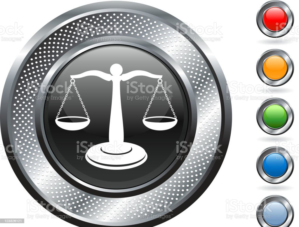 scale of justice royalty free vector art on metallic button royalty-free stock vector art