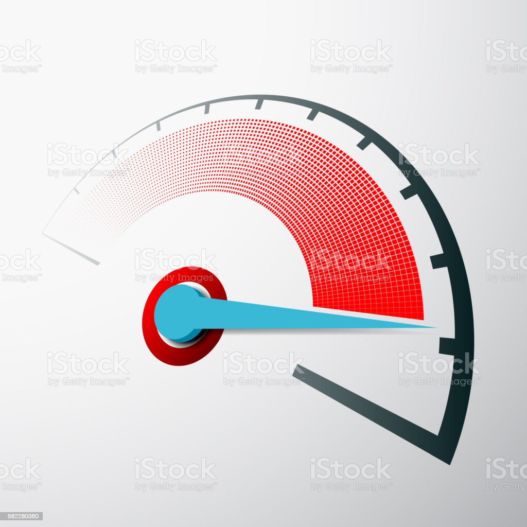 Scale of speed measurement with an arrow. vector art illustration