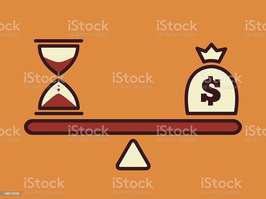Scale showing time versus money vector art illustration