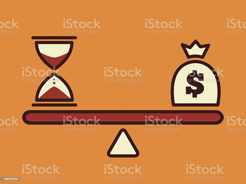 Scale showing time versus money vector art illustration