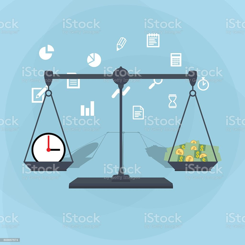 Scale weighing money and time vector art illustration