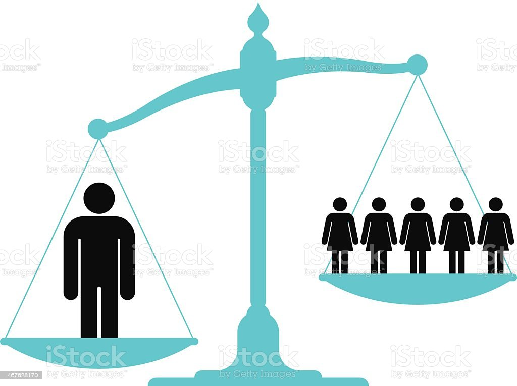 Scale weighing single man versus a group of women vector art illustration