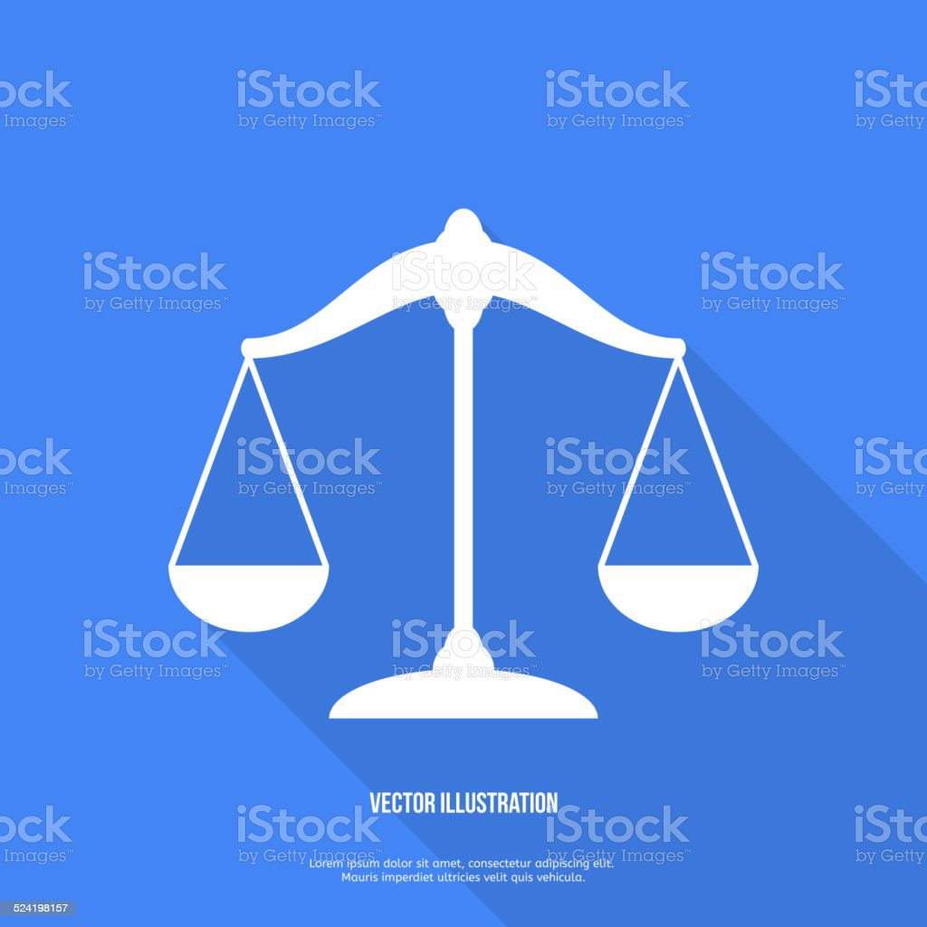 Scales balance icon. Flat design. Vector vector art illustration